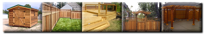 Examples of decks, sheds, cedar fences, and pergolas