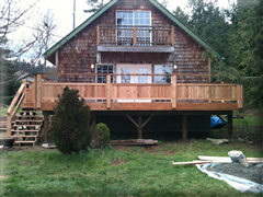Pressure treated deck with cedar railing