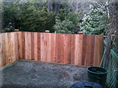 Solid cedar board fence panel